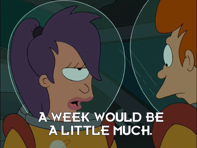 Turanga Leela: A week would be a little much.