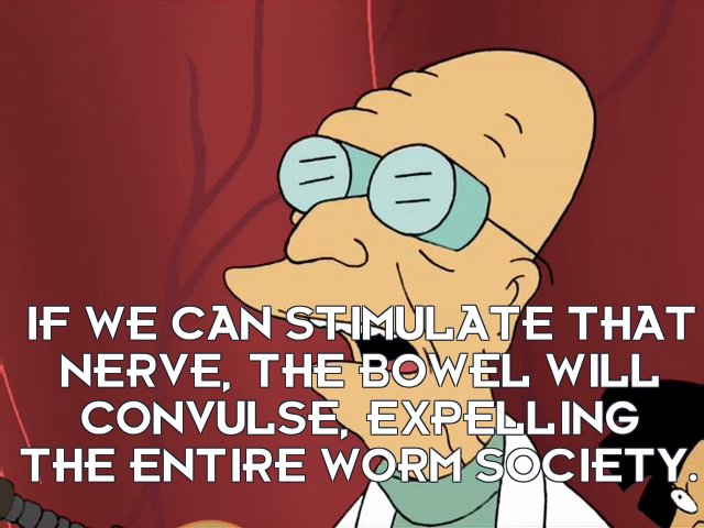 Prof Hubert J Farnsworth: If we can stimulate that nerve, the bowel will convulse, expelling the entire worm society.