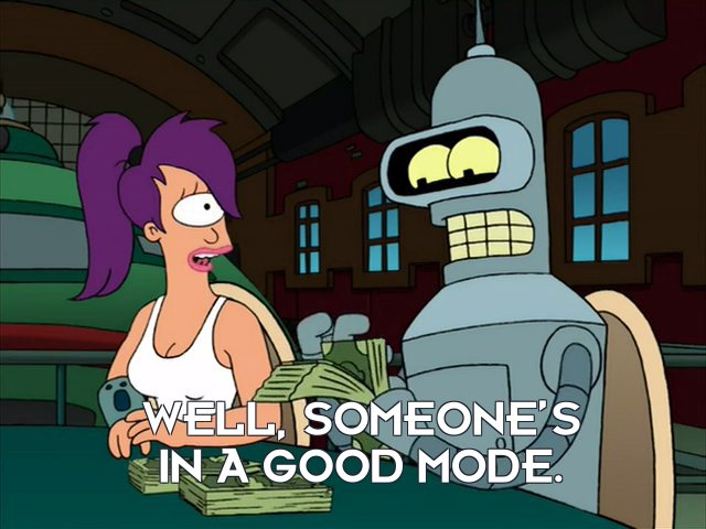 Turanga Leela: Well, someone's in a good mode.