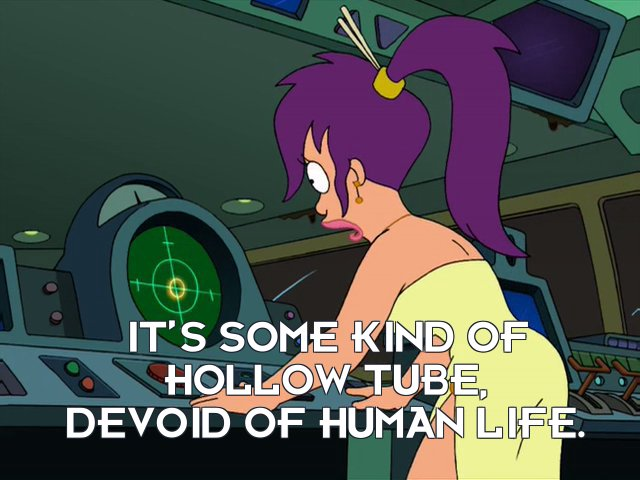 Turanga Leela: It's some kind of hollow tube, devoid of human life.
