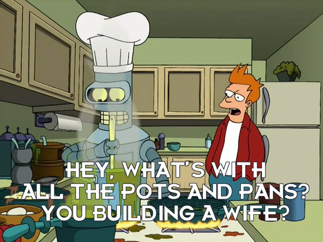 Philip J Fry: Hey, what's with all the pots and pans? You building a wife?