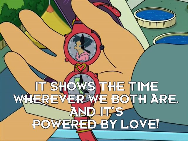 Kif Kroker: It shows the time wherever we both are. And it's powered by love!