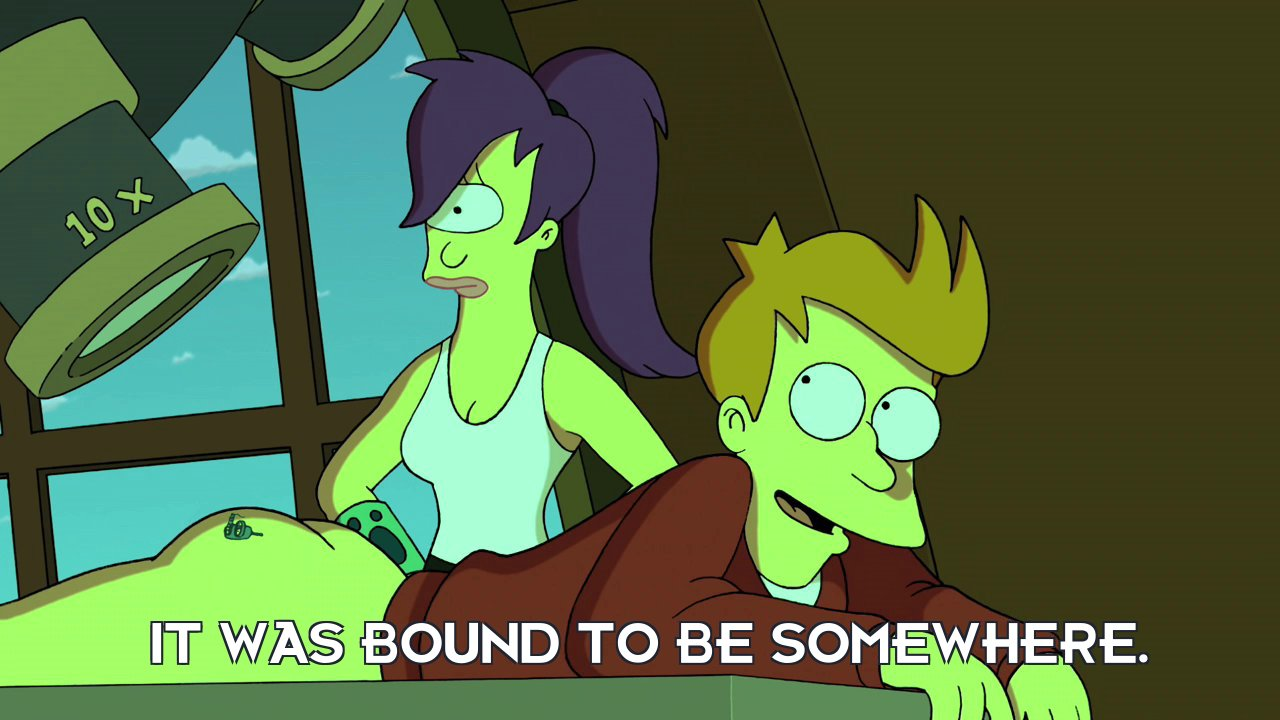 Philip J Fry: It was bound to be somewhere.