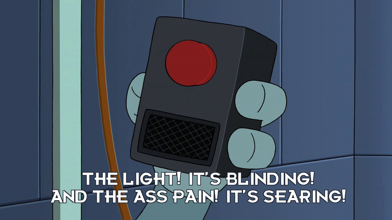 Bender Bending Rodriguez [on black box]: The light! It's blinding! And the ass pain! It's searing!