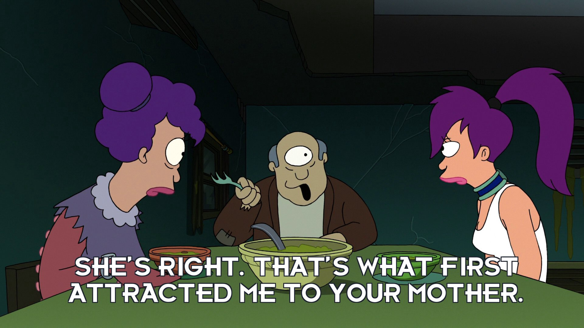 Turanga Morris: She's right. That's what first attracted me to your mother.