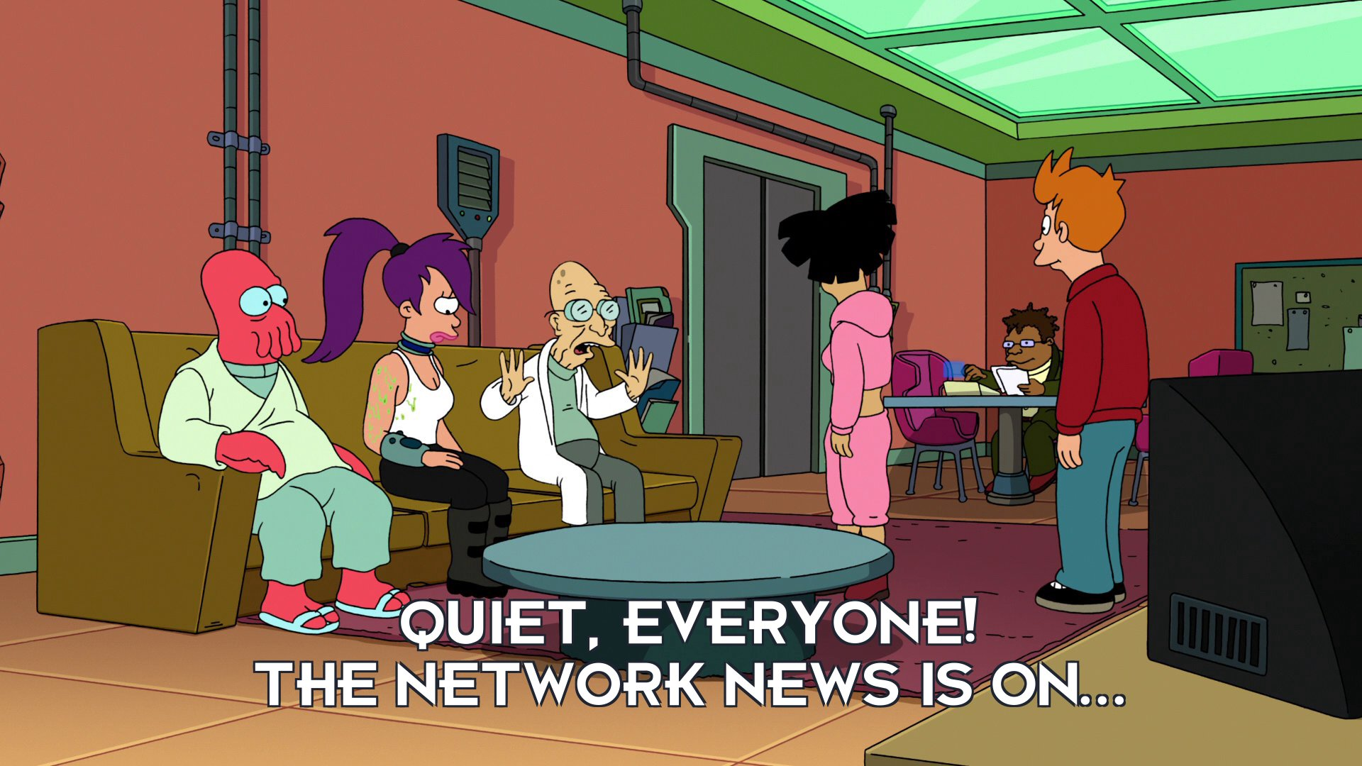 Prof Hubert J Farnsworth: Quiet, everyone! The network news is on...