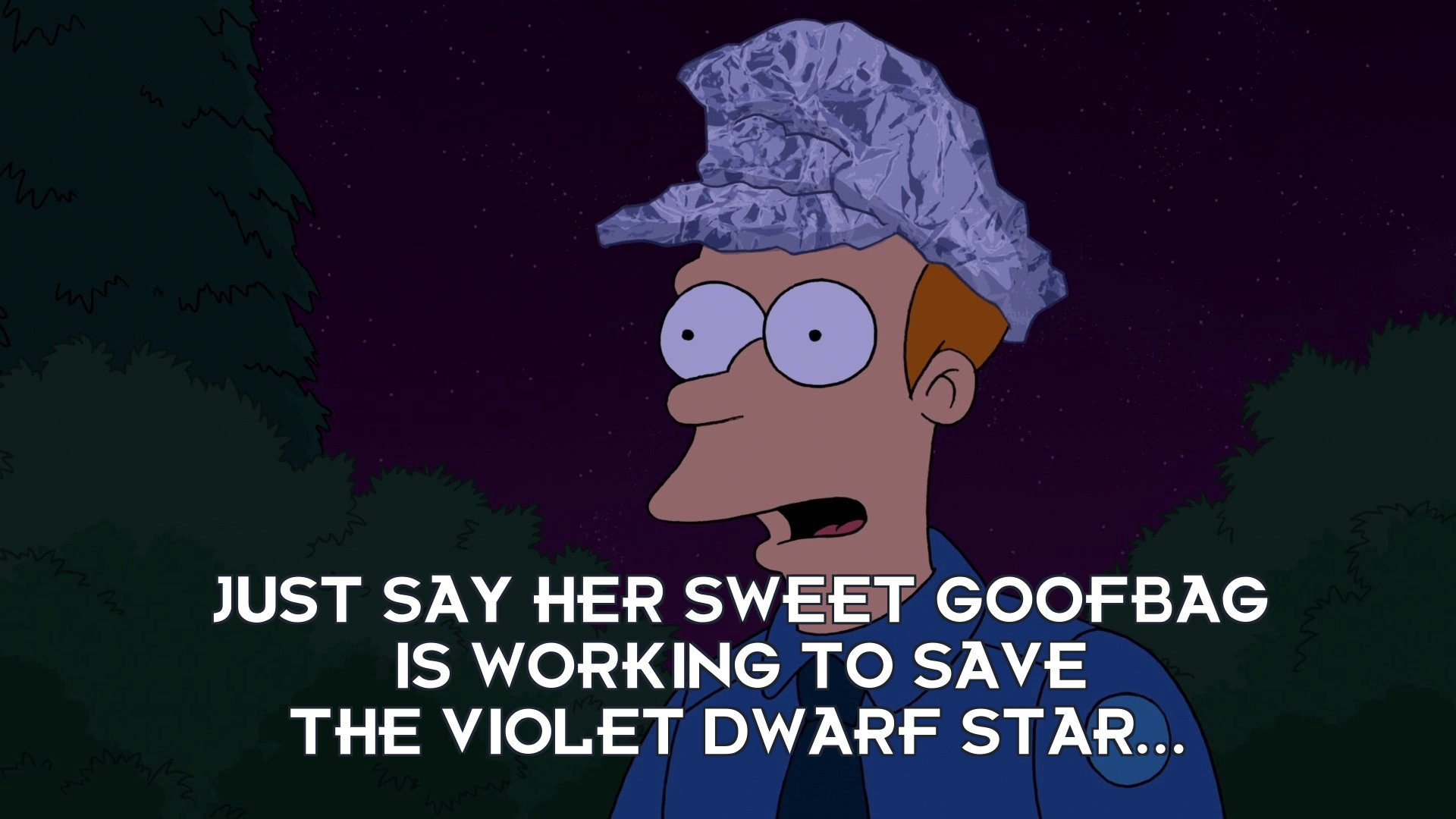 Philip J Fry: Just say her sweet goofbag is working to save the violet dwarf star...