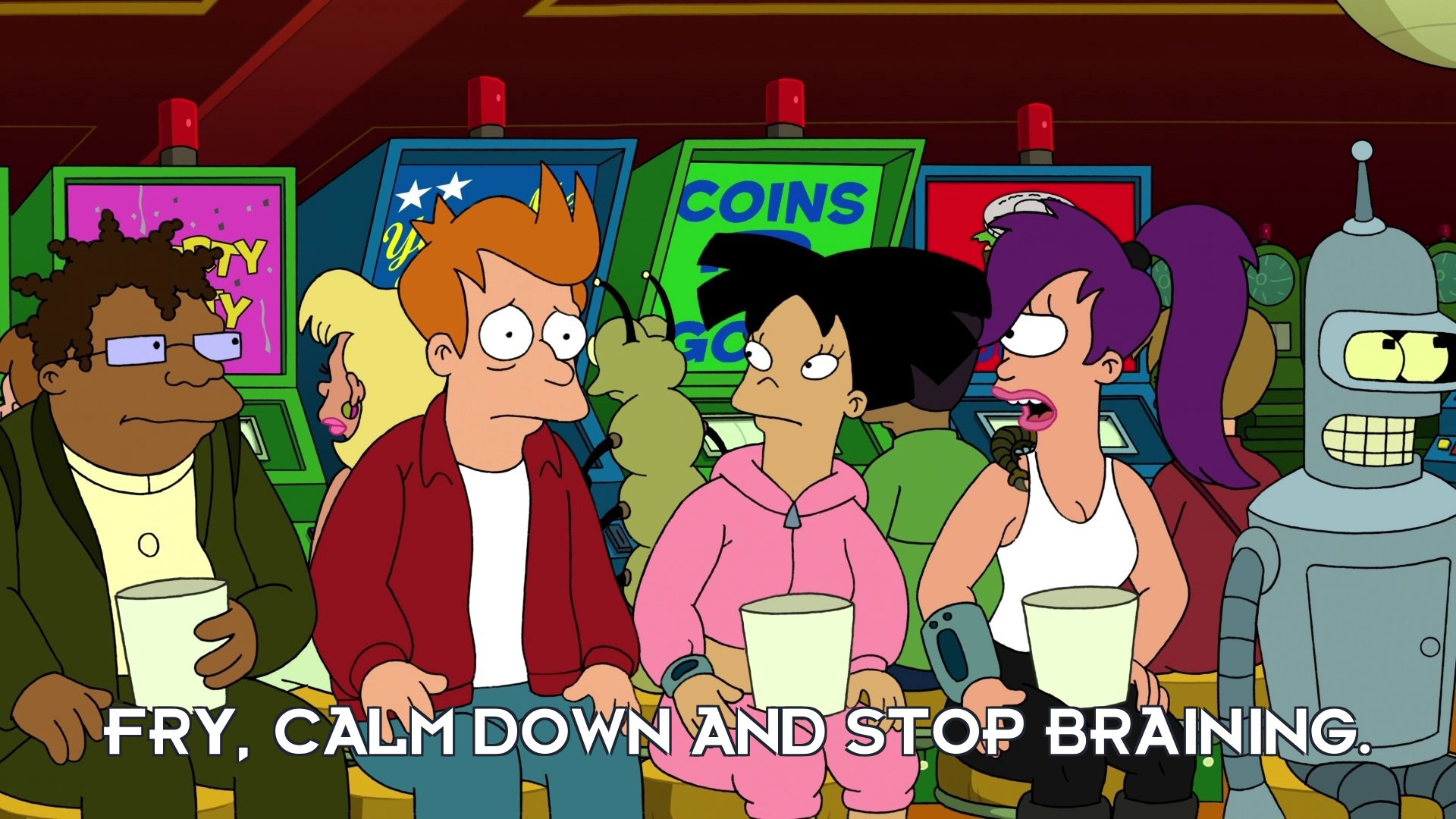 Turanga Leela: Fry, calm down and stop braining.