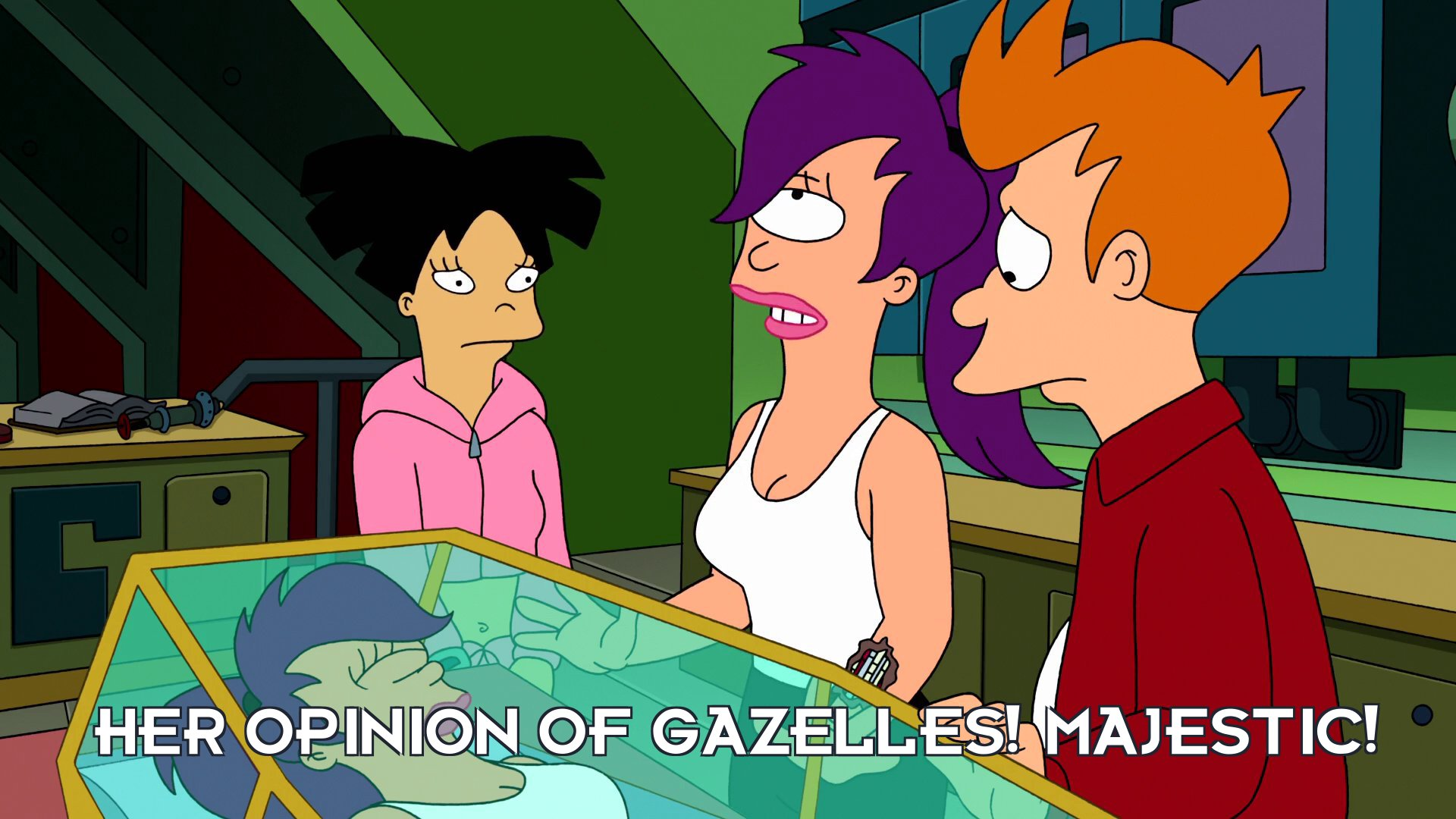 Robot Turanga Leela: Her opinion of gazelles! Majestic!