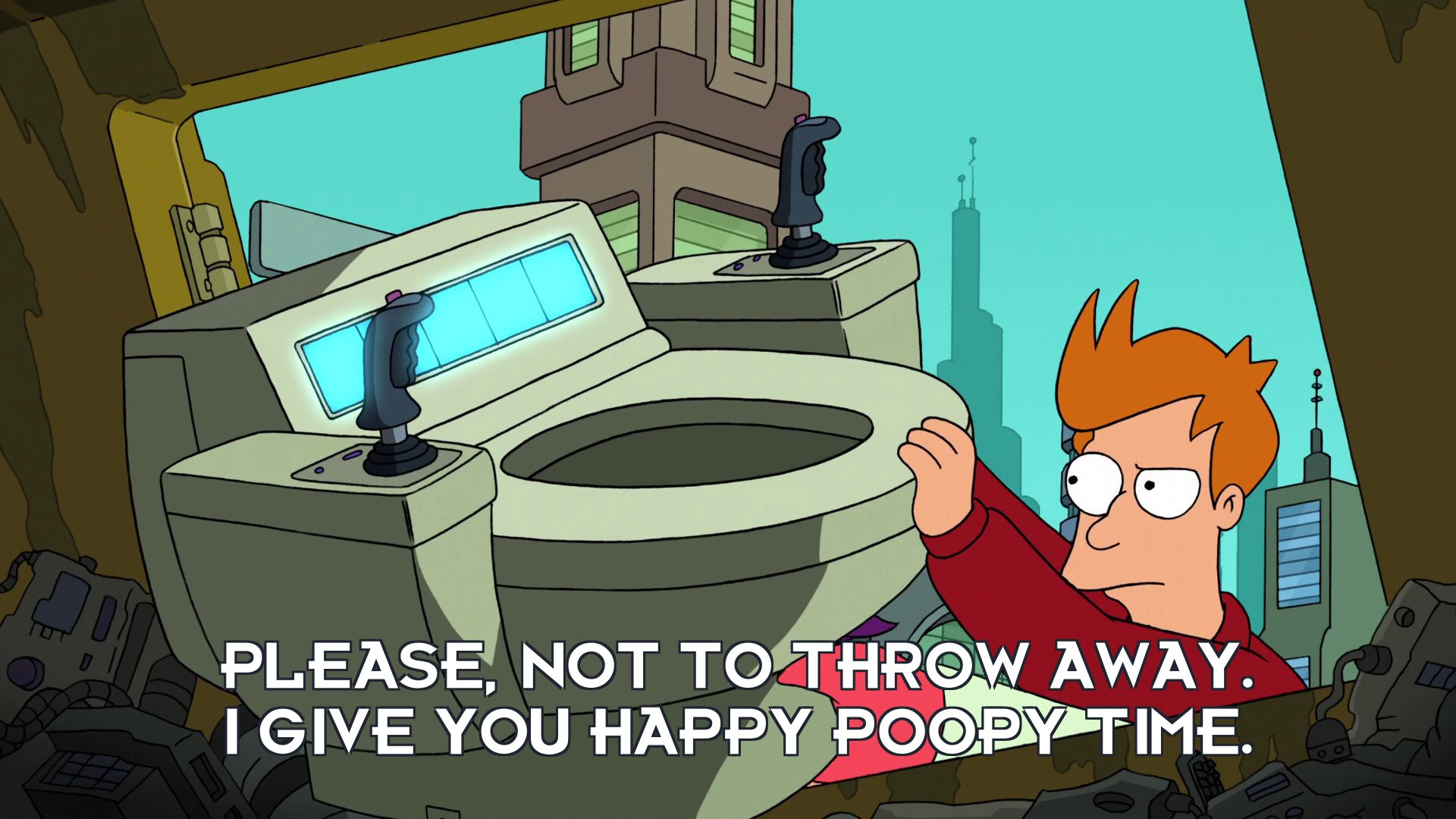 Toilet: Please, not to throw away. I give you happy poopy time.