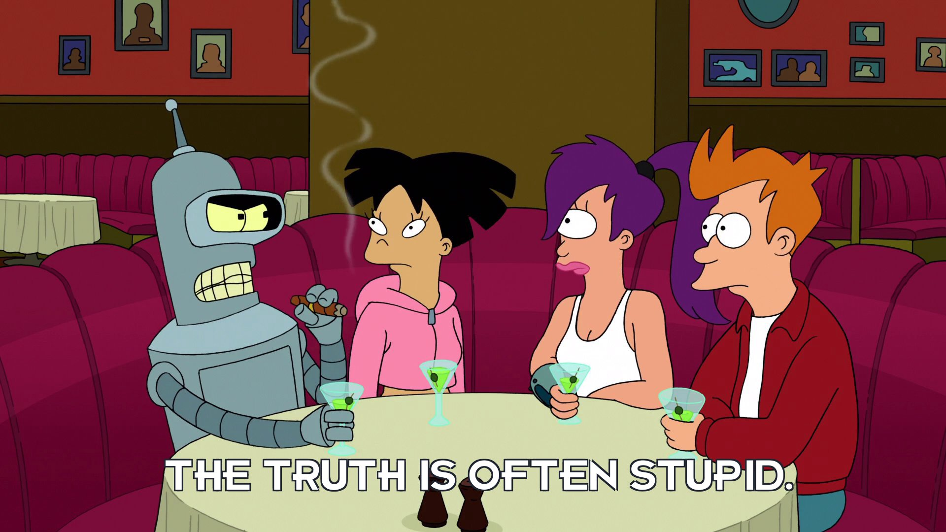 Bender Bending Rodriguez: The truth is often stupid.