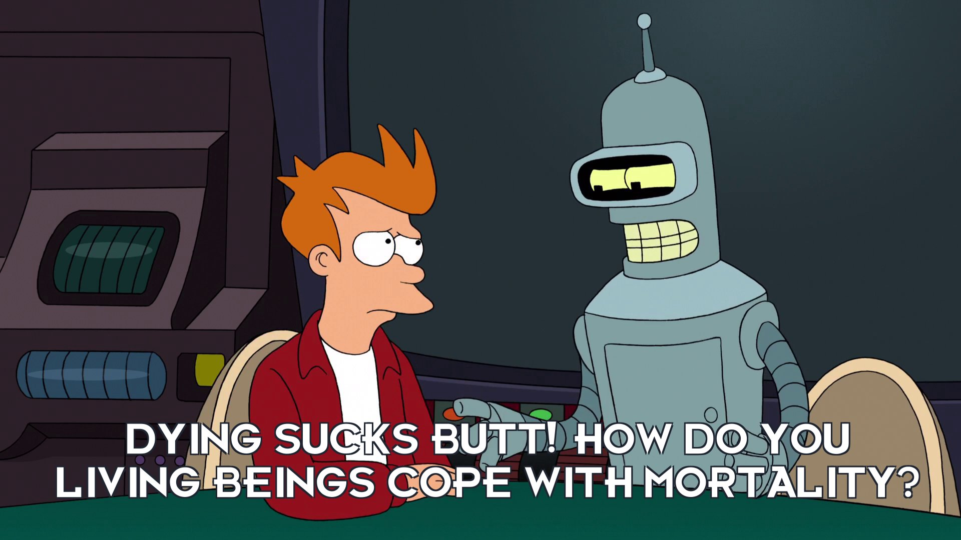 Bender Bending Rodriguez: Dying sucks butt! How do you living beings cope with mortality?