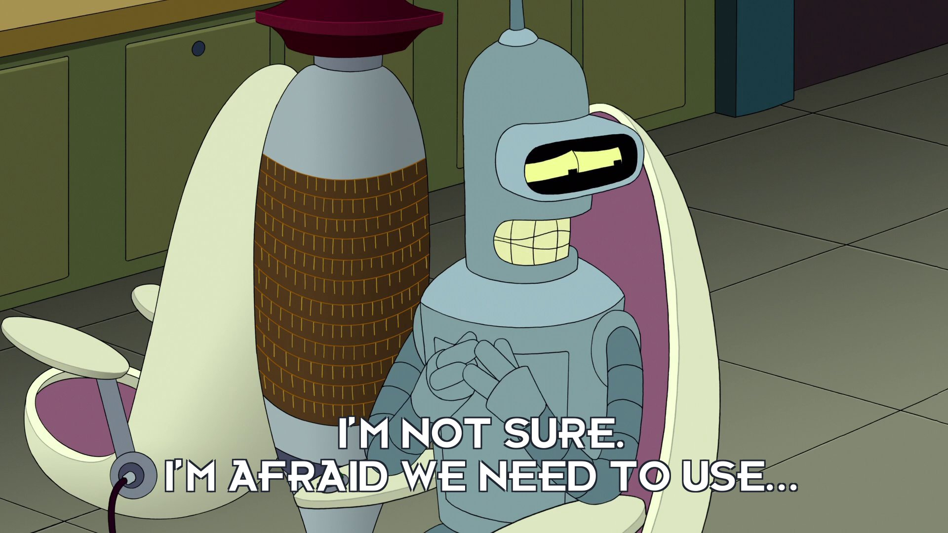 Prof Hubert J Farnsworth [in Bender Bending Rodriguez's body]: I'm not sure. I'm afraid we need to use...