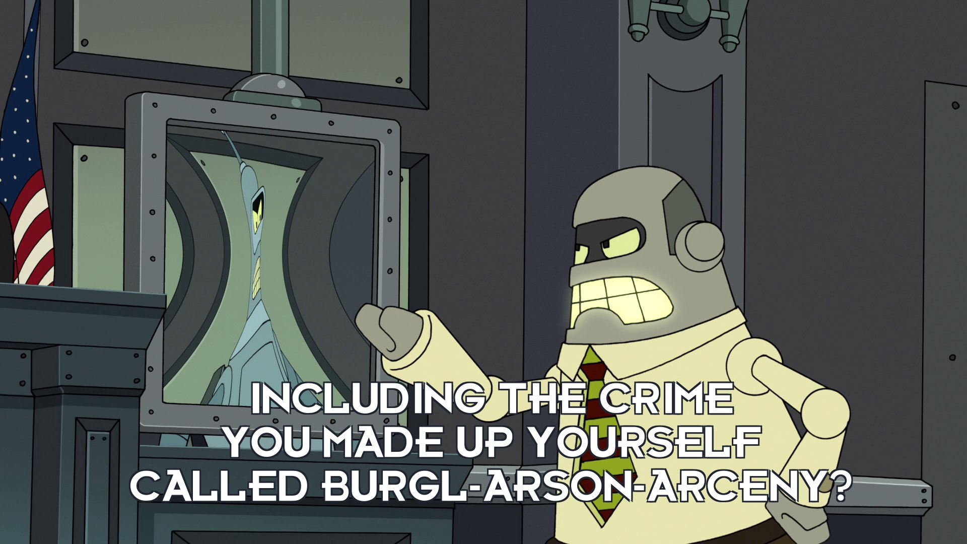 Lawyer: Including the crime you made up yourself called burgl-arson-arceny?