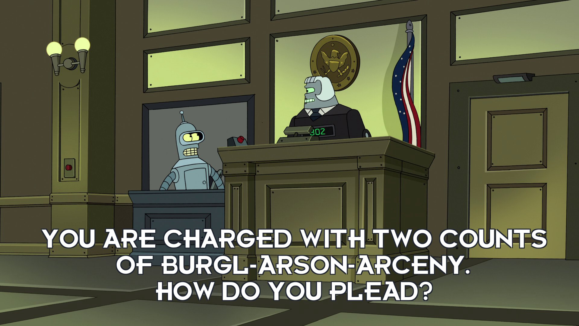 Judge 802: You are charged with two counts of burgl-arson-arceny. How do you plead?
