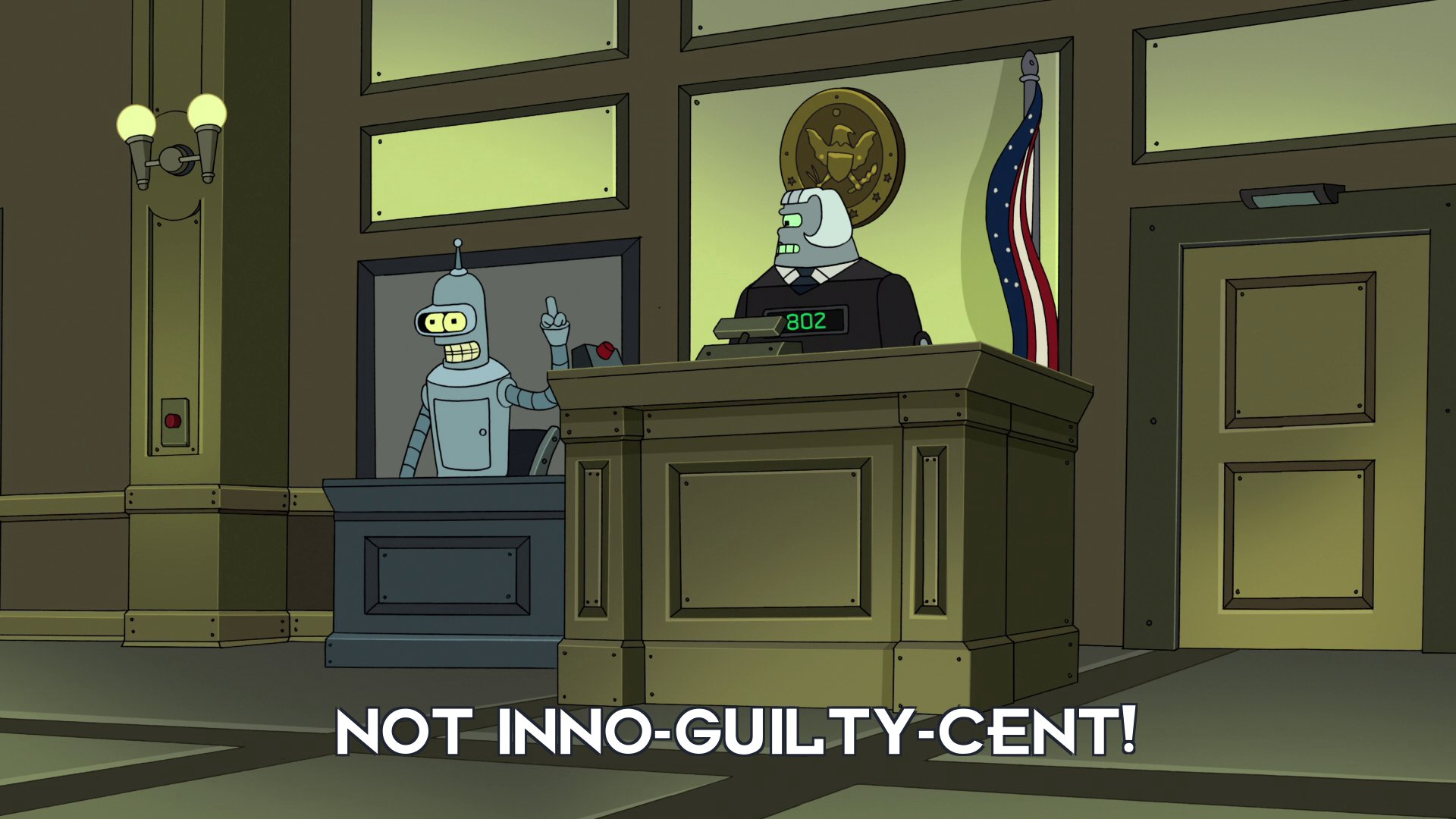 Bender Bending Rodriguez: Not inno-guilty-cent!