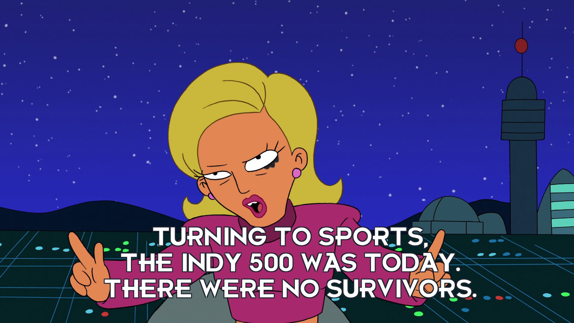 Linda van Schoonhoven: Turning to sports, the Indy 500 was today. There were no survivors.