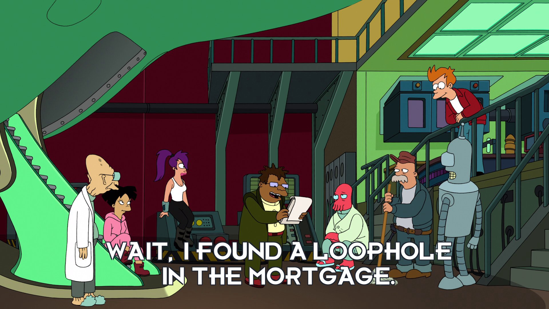 Hermes Conrad: Wait, I found a loophole in the mortgage.