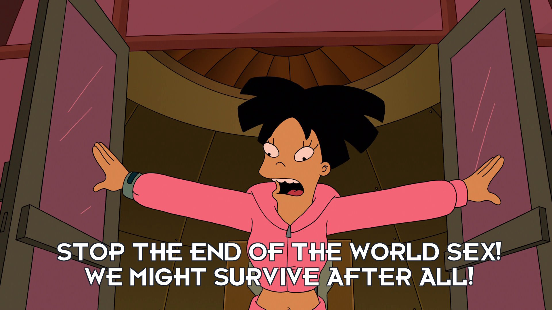 Amy Wong: Stop the end of the world sex! We might survive after all!