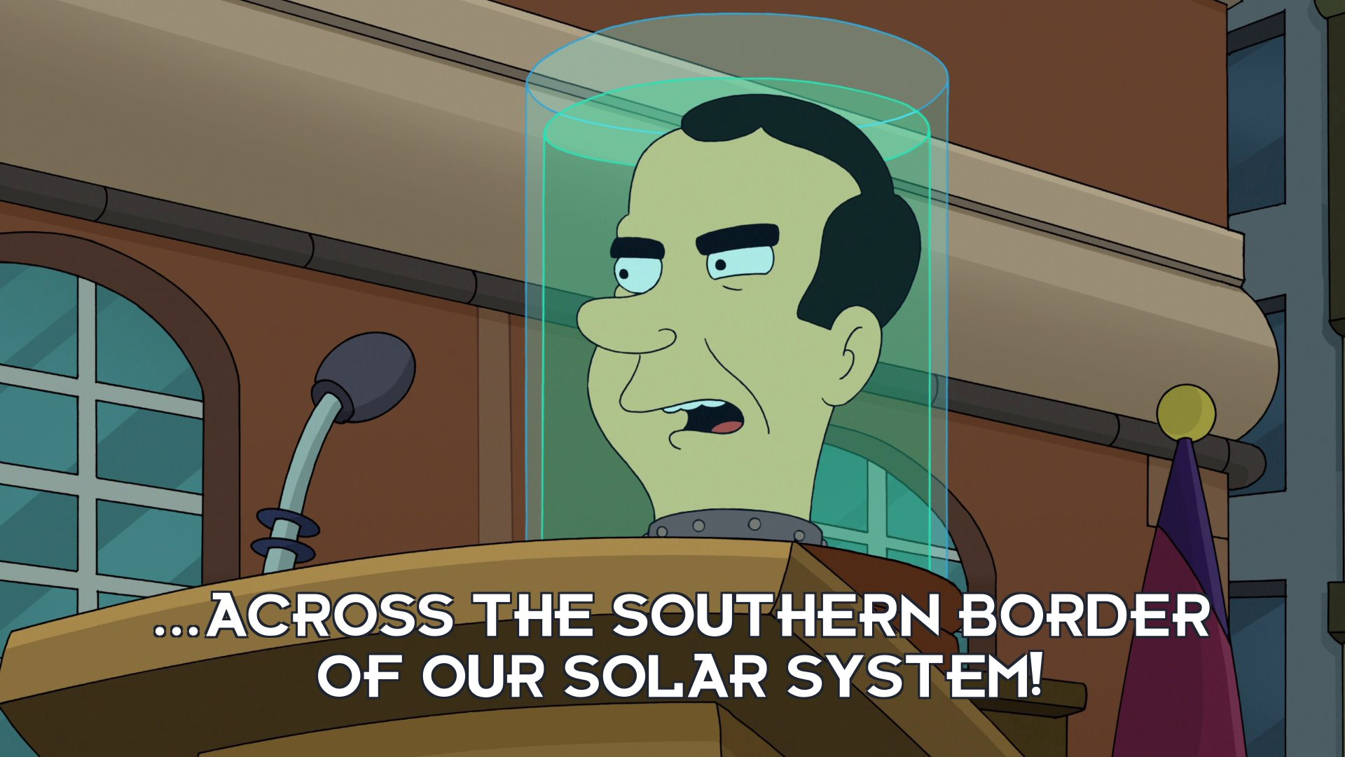 Richard Nixon's head: ...across the southern border of our solar system!