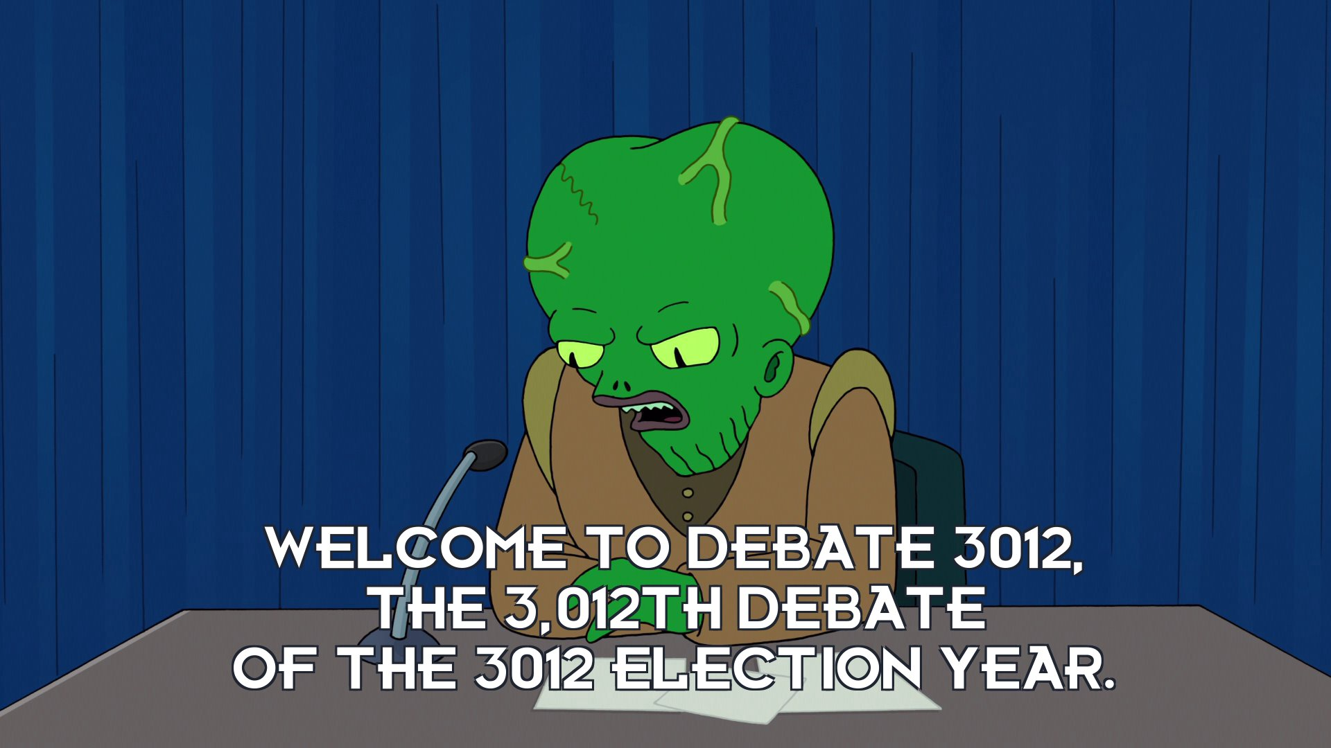 Morbo: Welcome to Debate 3012, the 3,012th debate of the 3012 election year.