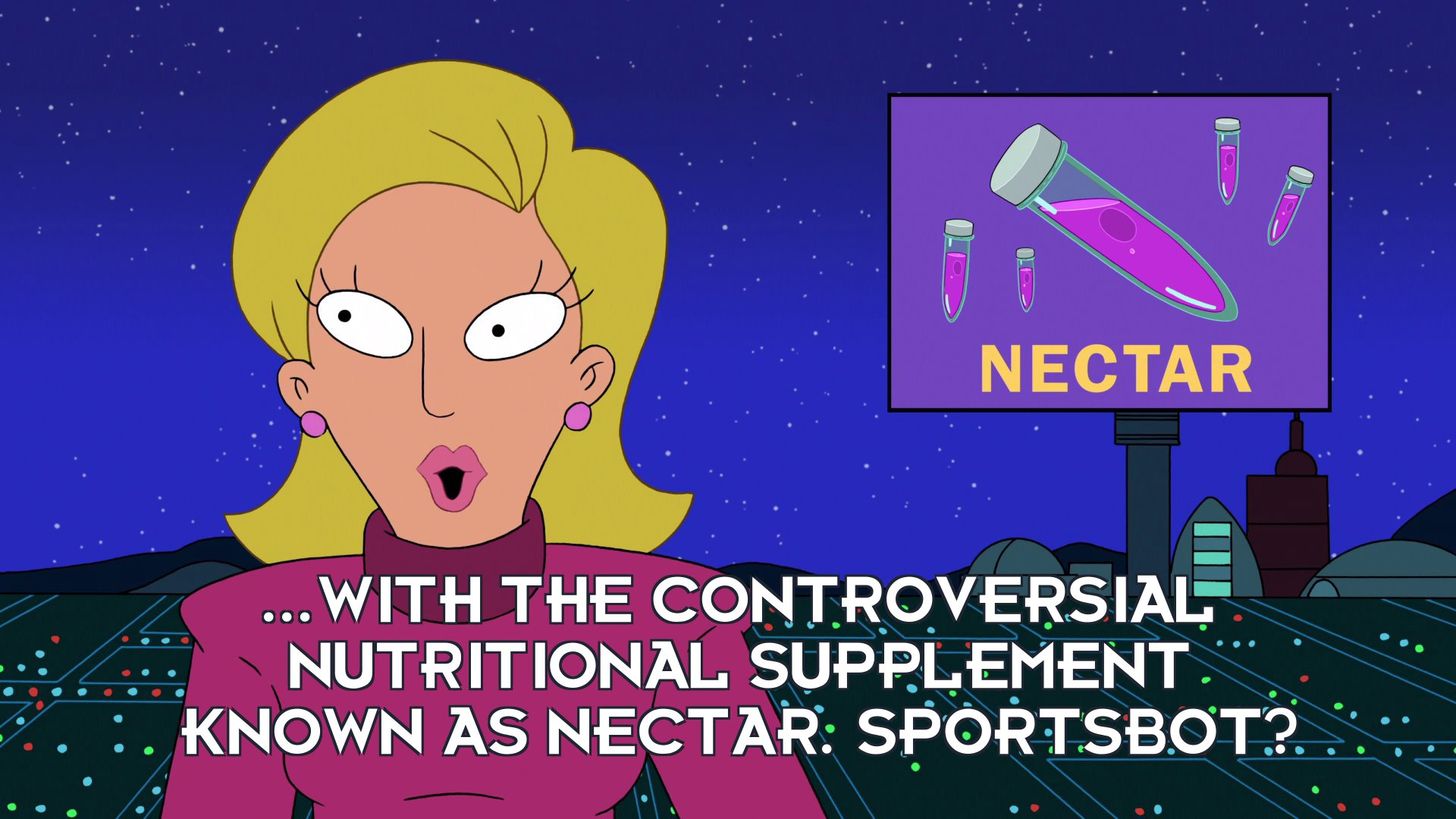 Linda van Schoonhoven: ...with the controversial nutritional supplement known as nectar. Sportsbot?