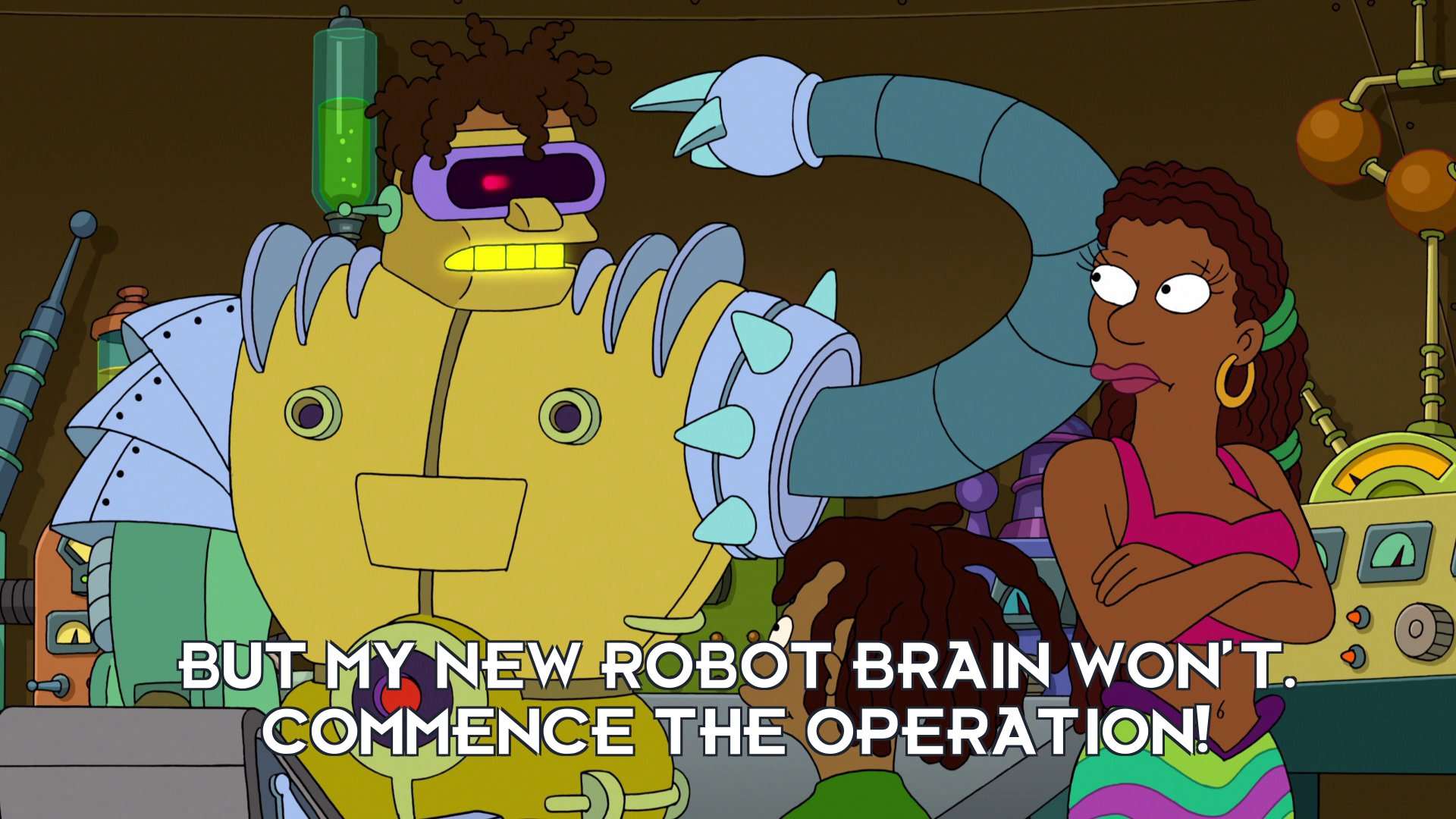 Mecha-Hermes: But my new robot brain won't. Commence the operation!