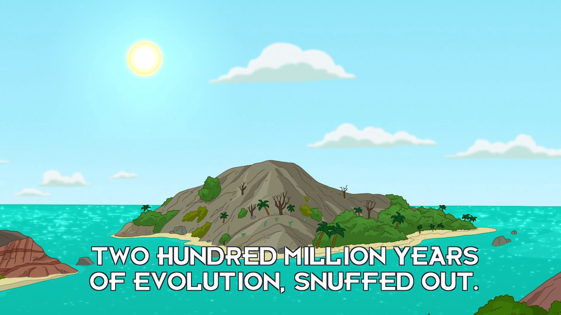 Narrator: Two hundred million years of evolution, snuffed out.