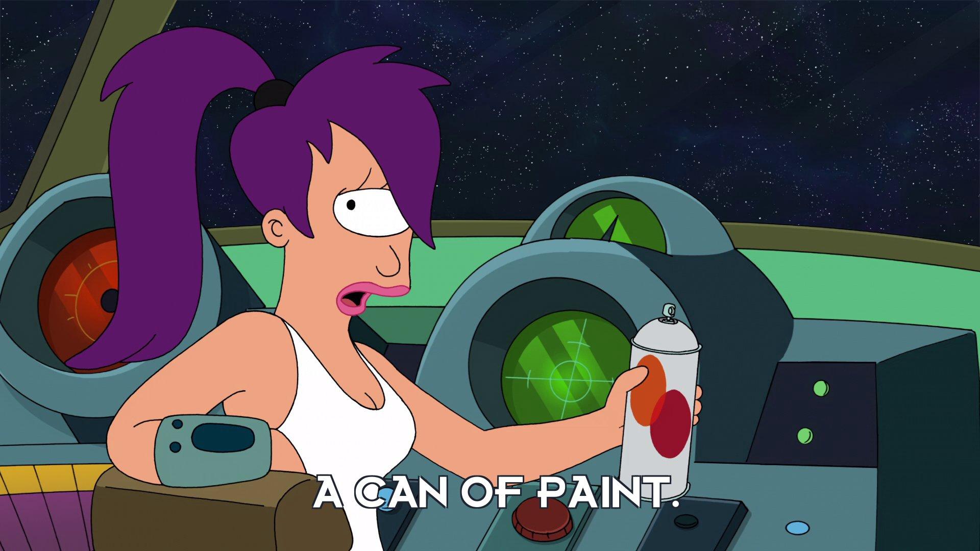 Turanga Leela: A can of paint.
