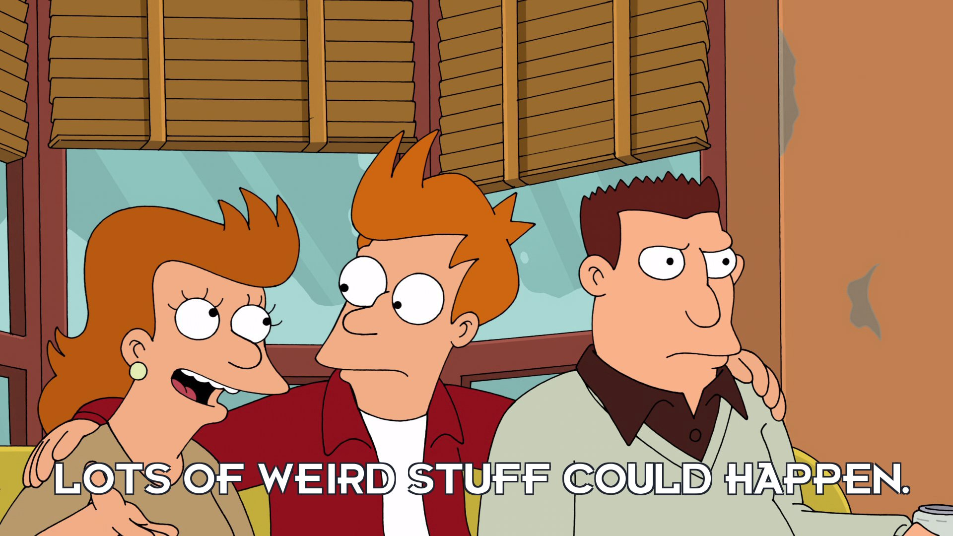 Fry's mother: Lots of weird stuff could happen.