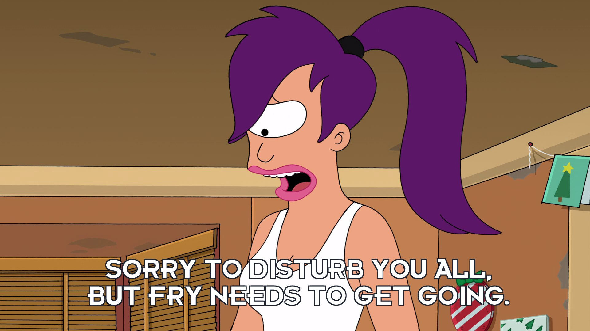 Turanga Leela: Sorry to disturb you all, but Fry needs to get going.