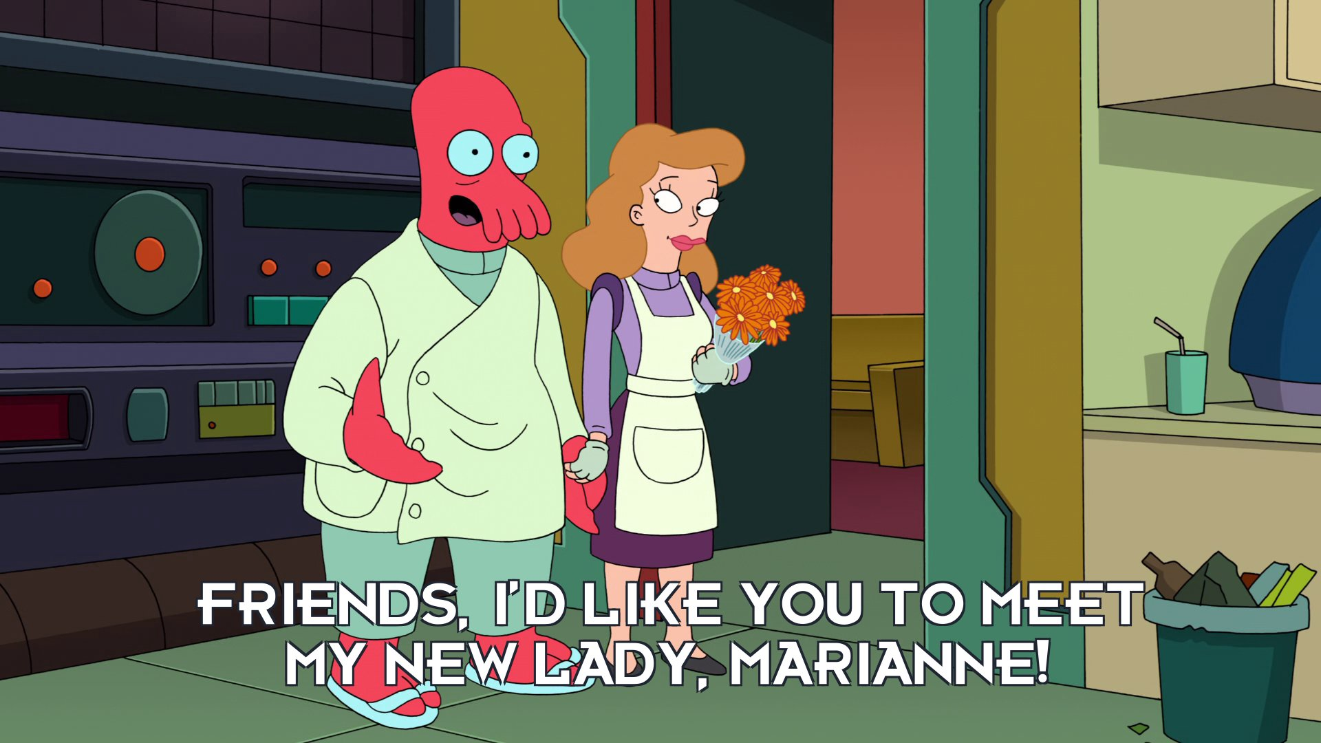 Dr John A Zoidberg: Friends, I'd like you to meet my new lady, Marianne!