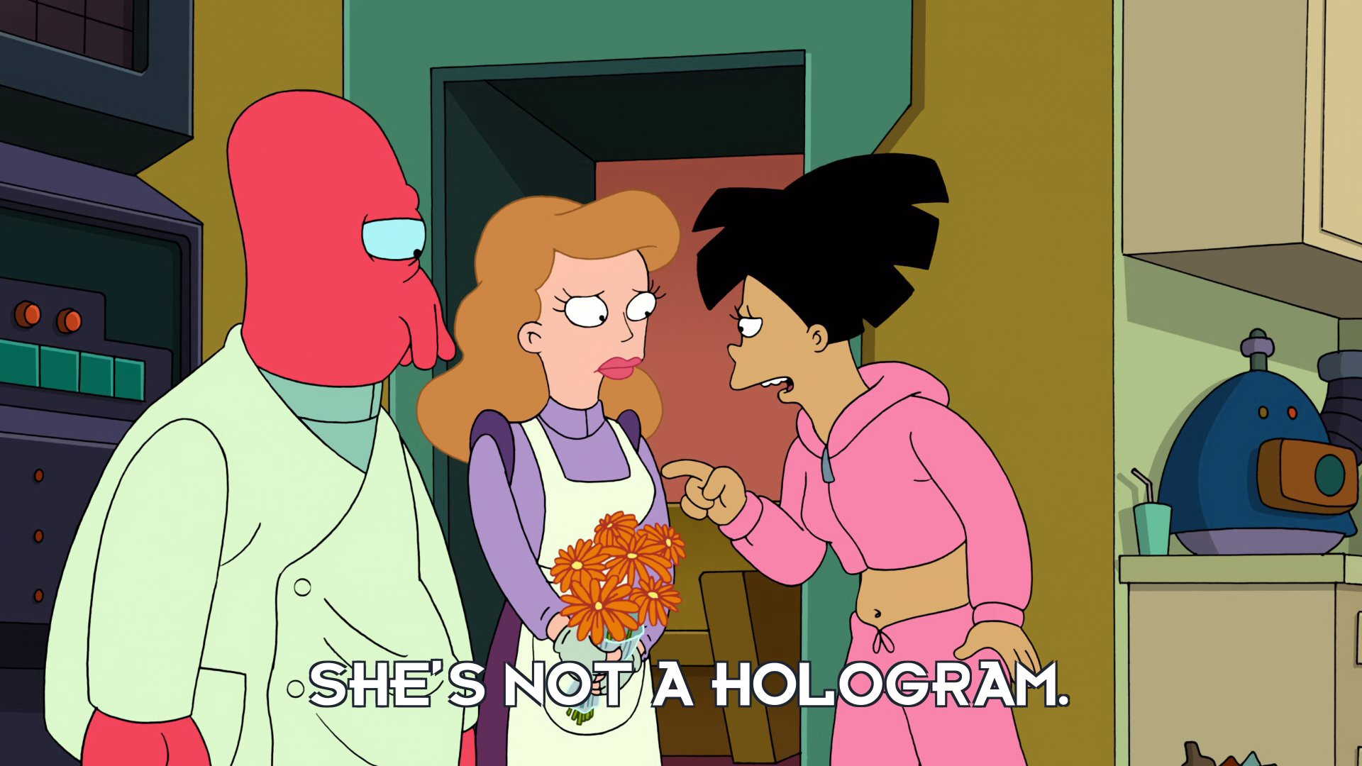 Amy Wong: She's not a hologram.