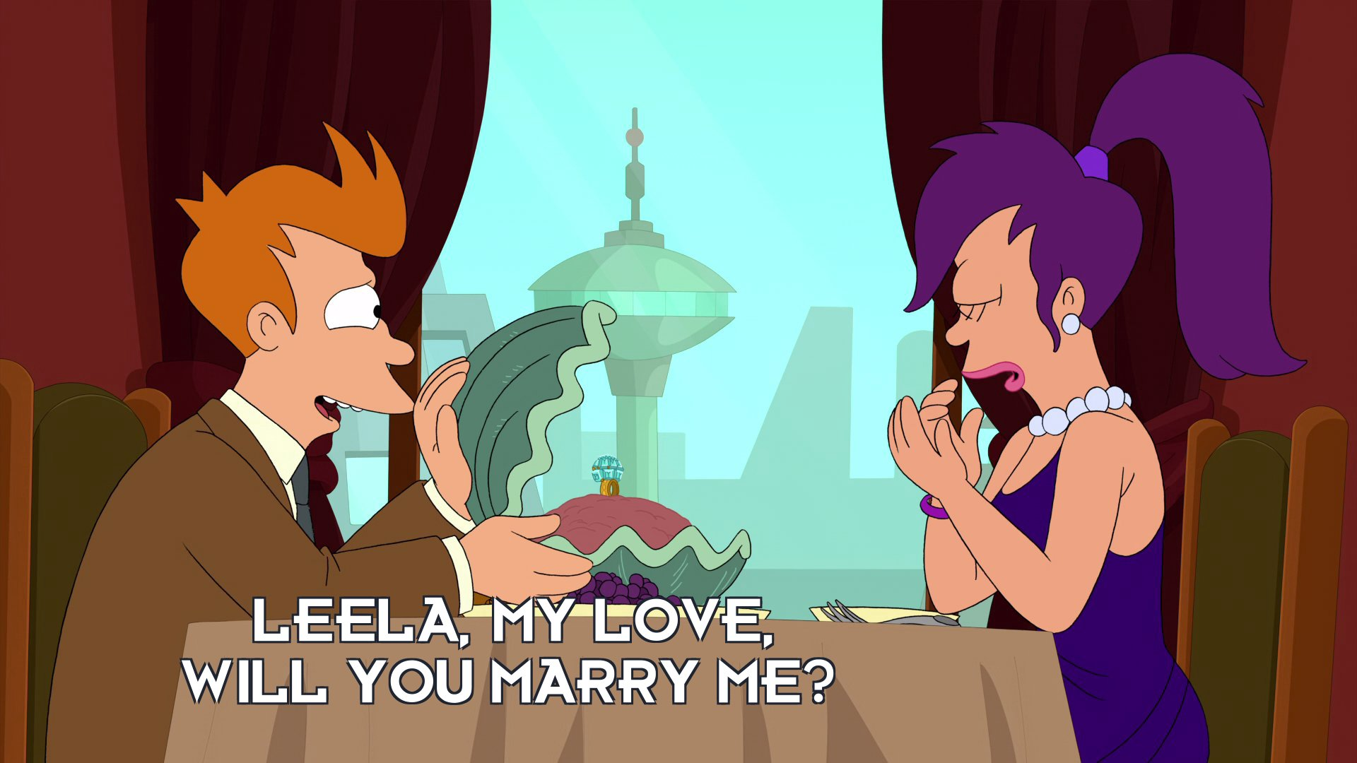 Philip J Fry: Leela, my love, will you marry me?